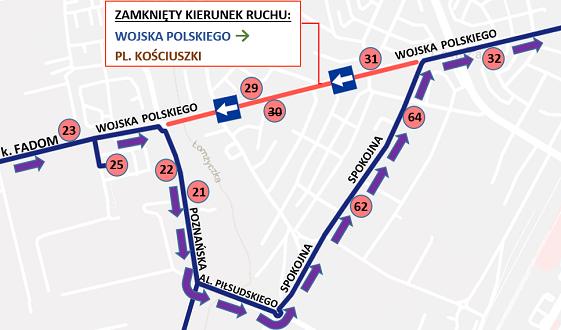 """Fragment trasy linii """"2"""" i """"13"""" z zaznaczonym objazdem na czas remontu W. Polskiego"""
