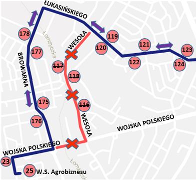 """Fragment trasy linii """"7"""" z zaznaczonym objazdem na czas remontu W. Polskiego"""